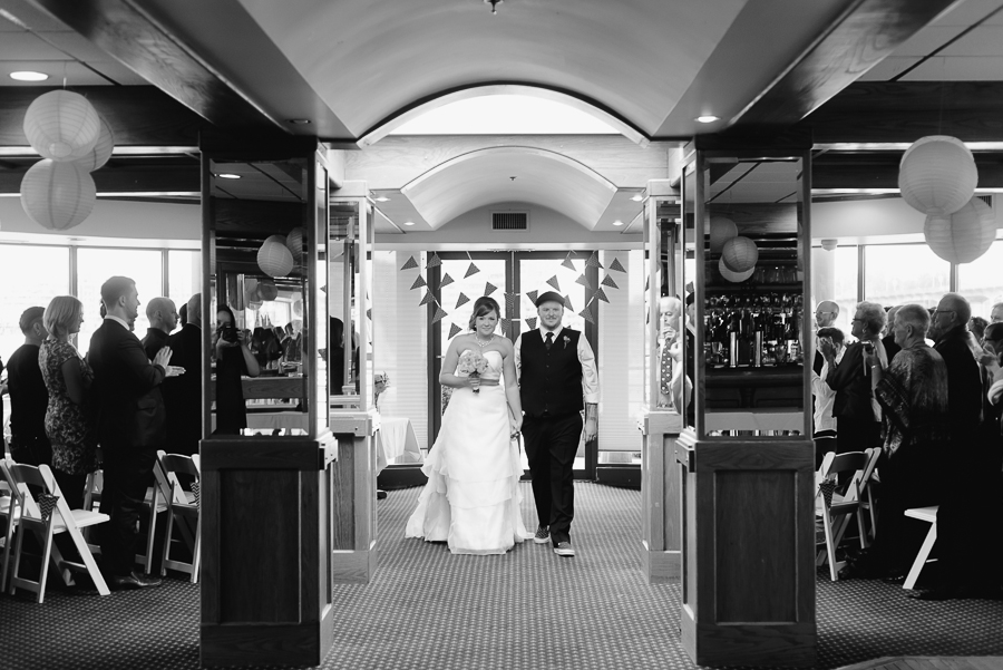 wedding at FCYC | bride and groom walking down aisle after wedding ceremony