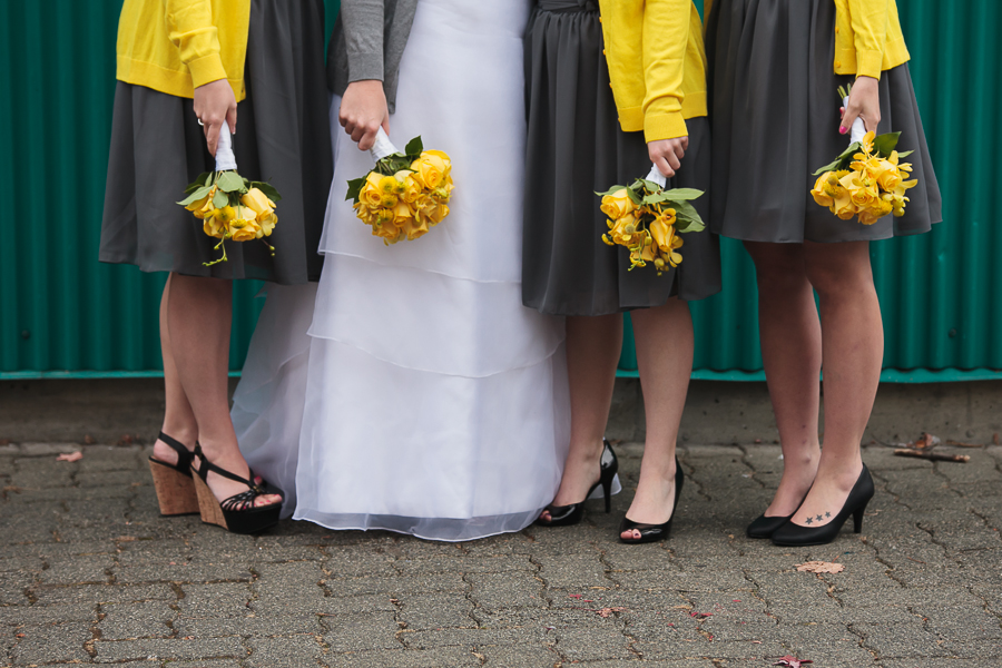 FCYC wedding | grey bridesmaid dresses with yellow rose bouquets and yellow cardigans