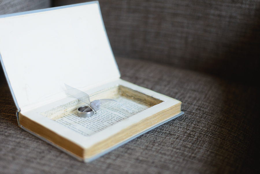 FCYC wedding | repurposed book holding wedding rings for ring bearer to carry down the aisle