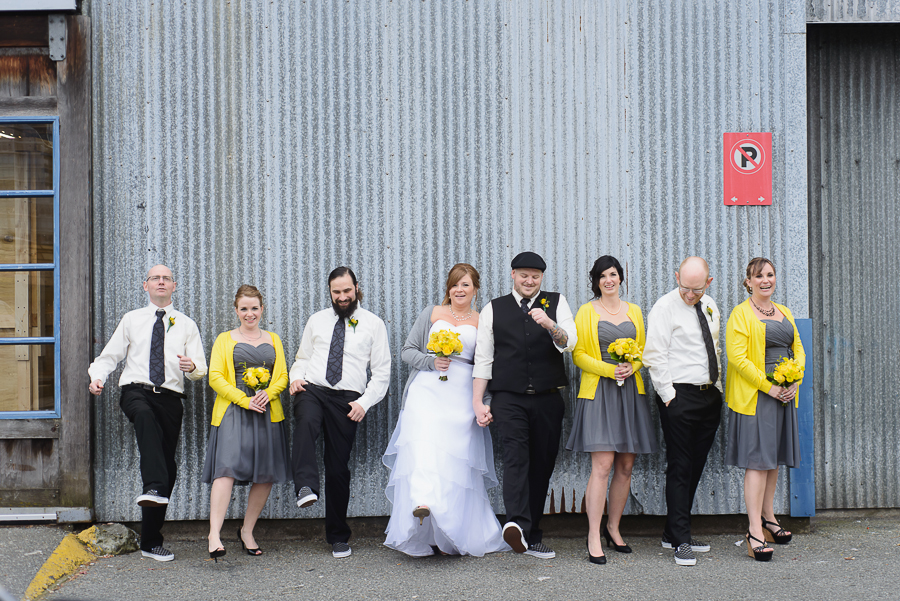 False Creek wedding | wedding party dancing and laughing during portraits