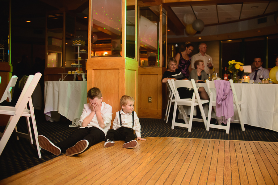 FCYC wedding | ring bearer tired at end of wedding reception