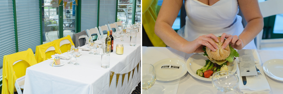 False Creek wedding | bridesmaids yellow cardigans over chairs at reception | bride with burger from burger bar at wedding reception