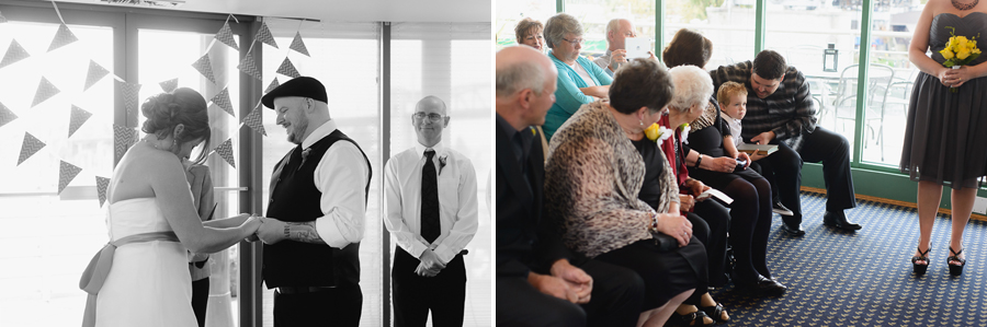 wedding at False Creek | bride and groom laughing during wedding ceremony