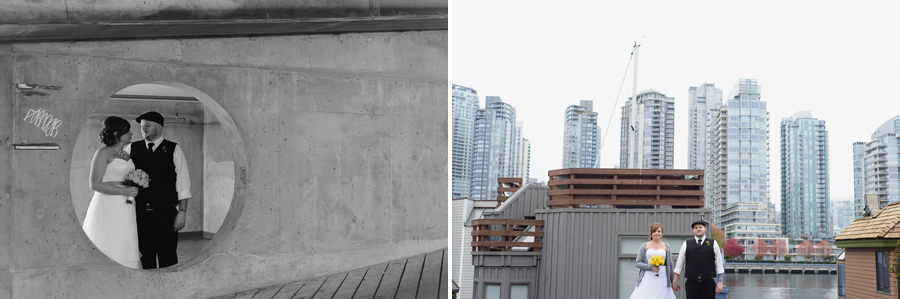FCYC wedding | bride and groom portraits in parkade | bride and groom with Vancouver skyline