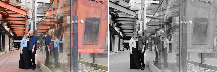 Gastown engagement photo | couple next to W at Woodwards Building