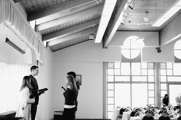 Couple rehearsing vows before wedding ceremony | Burnaby Confederation Community Centre wedding photo