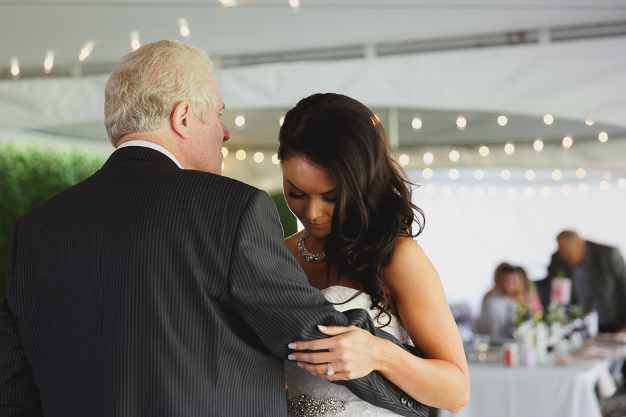 sweet father daughter dance with twinkle lights under tent at shabby chic family farm wedding reception