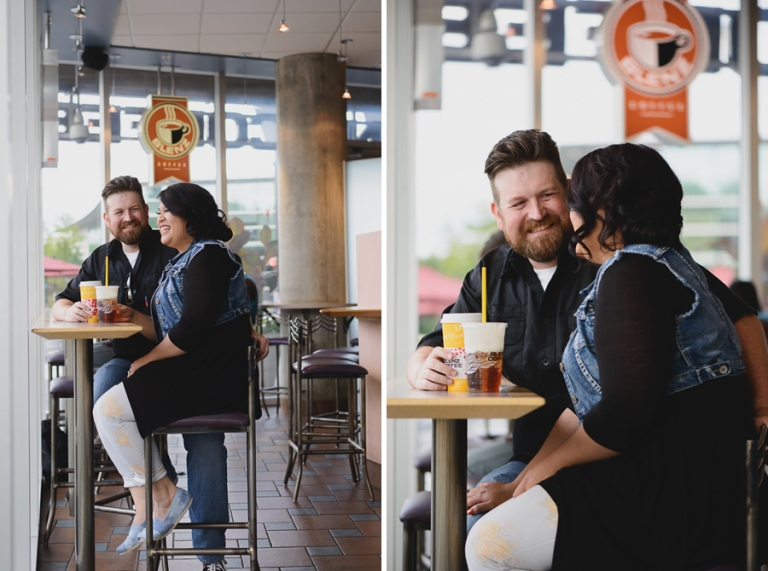 coffee shop engagement photo
