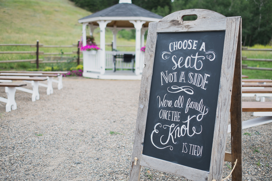 chalk wedding ceremony sign | choose a seat not a side we're all family once the knot is tied