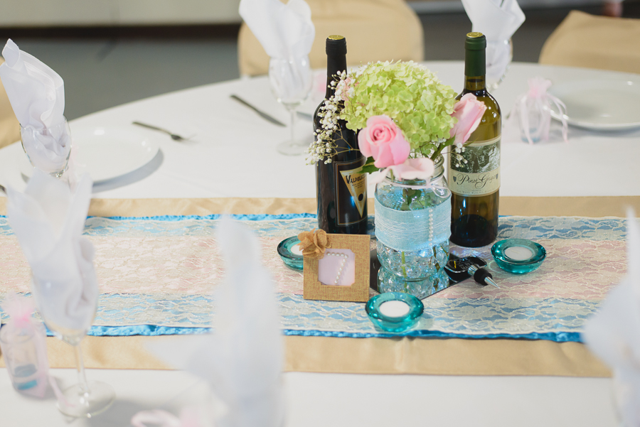 turquoise and pink lace table runner and centerpiece with burlap table runner and pearl table number in burlap flower frame