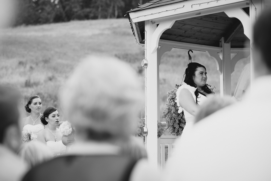 bridesmaids watching bride during rustic gazebo wedding ceremony