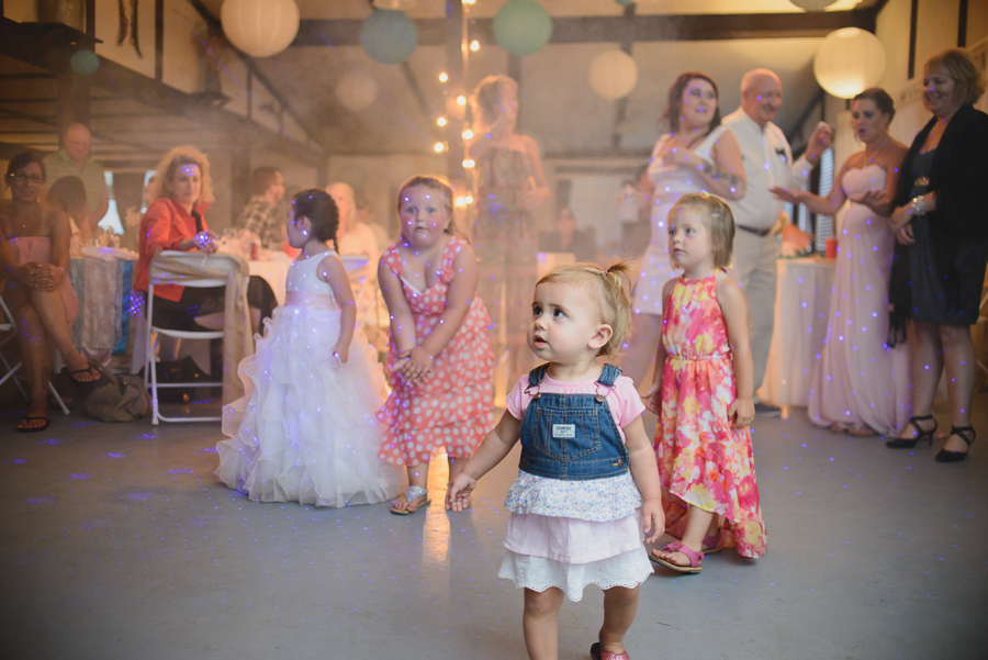 children dancing at wedding reception