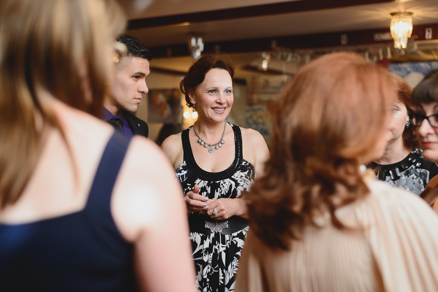 guests mingling at wedding reception at Russian House Restaurant in Coquitlam, BC