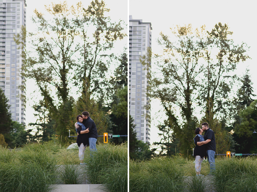 couple kissing in Surrey Library courtyard engagement photo