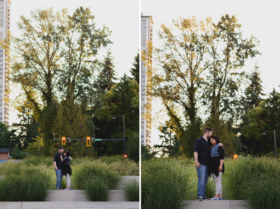romantic sunset in Surrey Library courtyard engagement photo