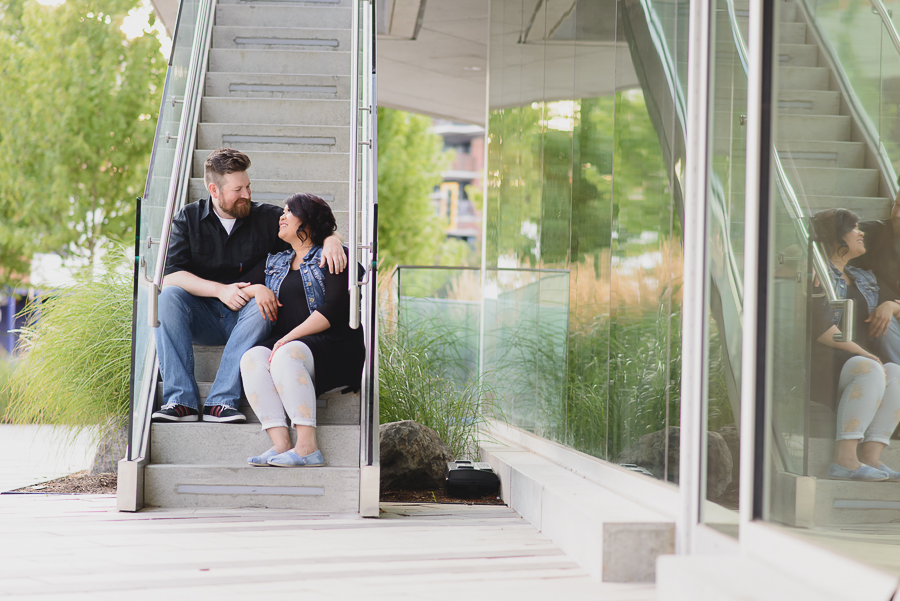 couple sitting on steps at Surrey City Hall