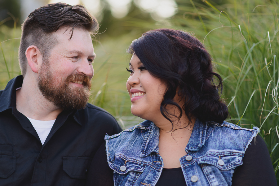 romantic sunset in garden in Surrey Library courtyard engagement photo
