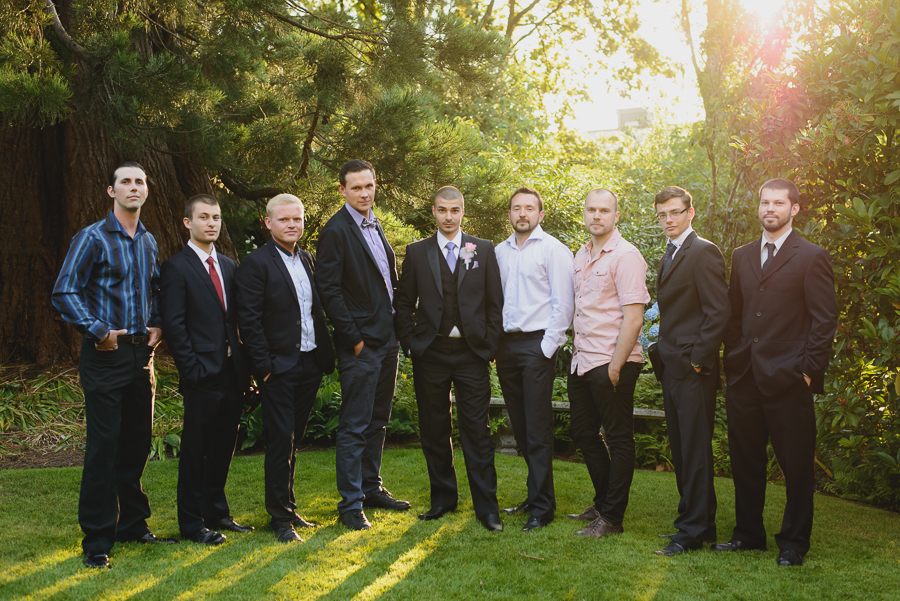 groom and groomsmen at Hycroft Manor wedding in Vancouver, BC