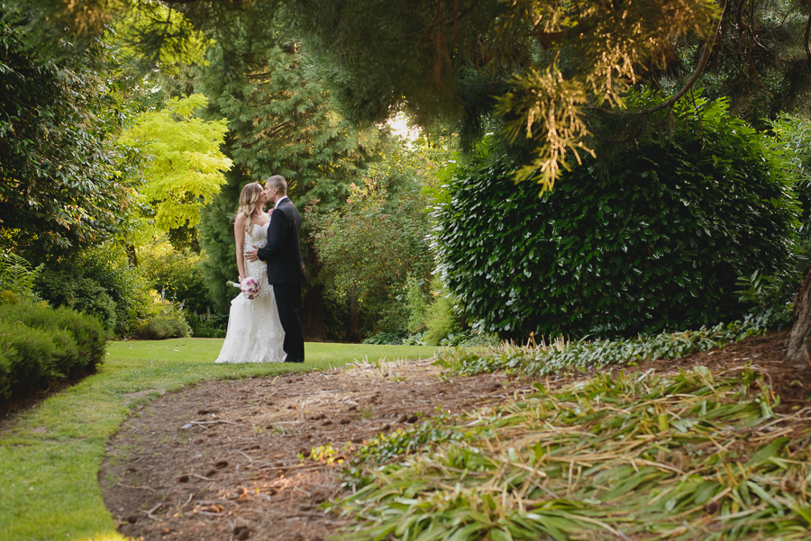 sweet bride and groom portrait at Hycroft Manor wedding in Vancouver, BC