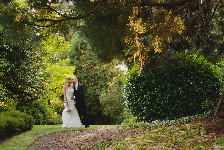 romantic bride and groom portrait at Hycroft Manor wedding in Vancouver, BC