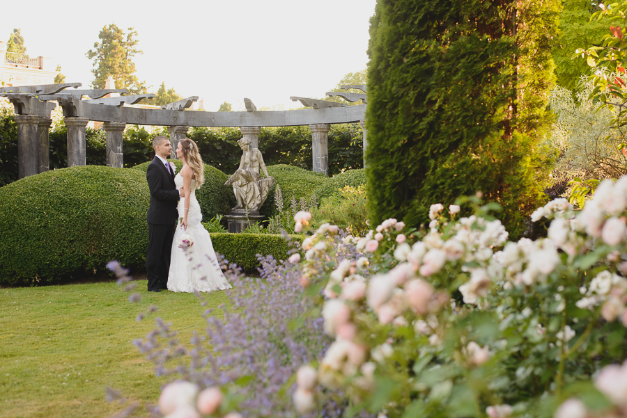 beautiful bride and groom portrait at Hycroft Manor wedding in Vancouver, BC
