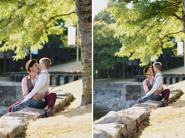 gay couple at sunset at Granville Island | gay engagement session