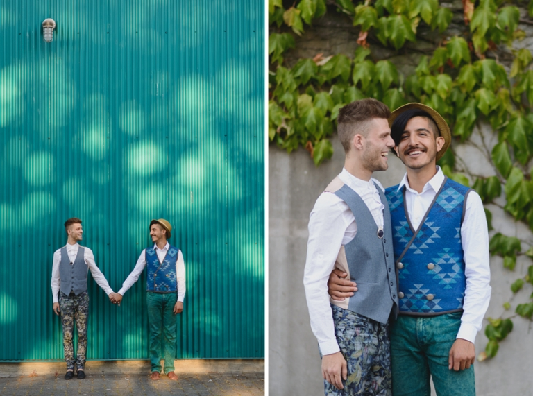 gay couple laughing at engagement session at Granville Island | Vancouver gay wedding