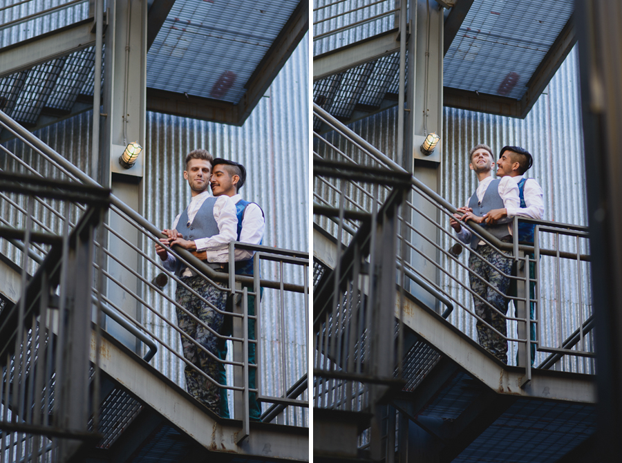 LGBT urban engagement on staircase | LGBT photographer Vancouver