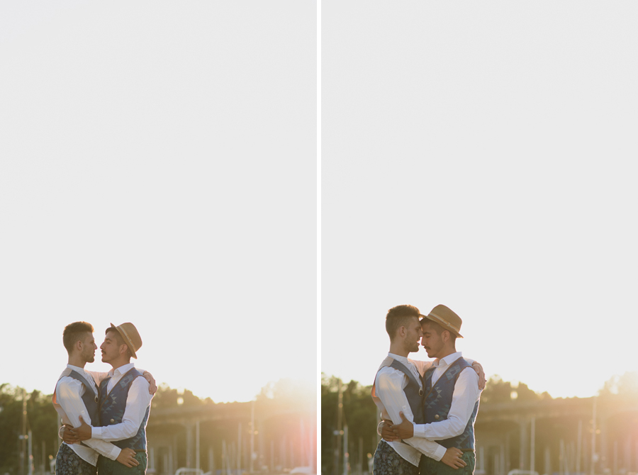 gay couple embracing at sunset on Granville Island | Granville Island engagement photographer
