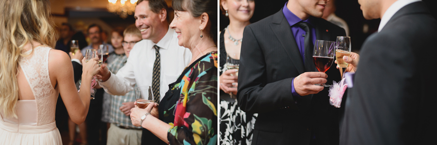 bride and groom toasting with guests at wedding reception