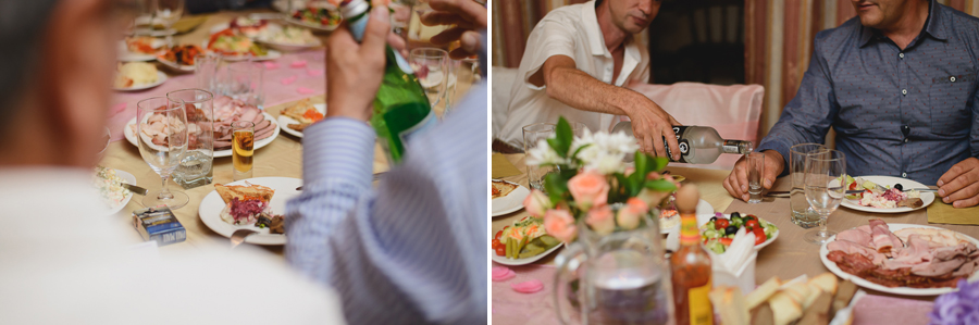 guests pouring shots of alcohol at wedding reception