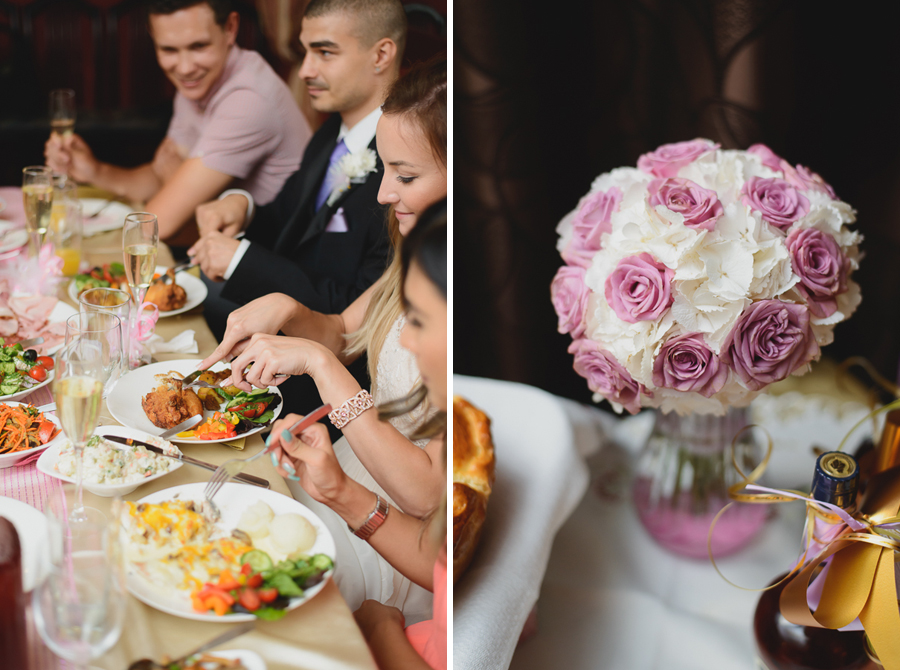 bride and groom and head table eating dinner at wedding reception | pink and white rose bouquet