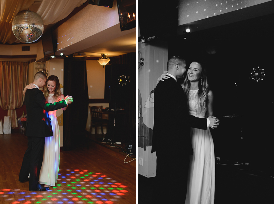 bride and groom having first dance at wedding reception