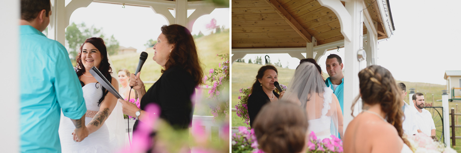 bride and groom with tattoos exchanging vows during rustic gazebo wedding ceremony