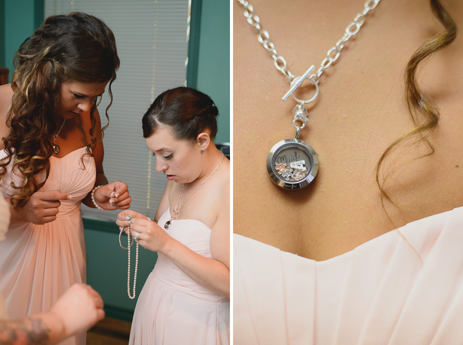 bridesmaids in blush pink chiffon dresses helping bride with pearl necklace and diamond bracelet   bridesmaid in blush pink dress wearing custom Origami Owl charm necklace