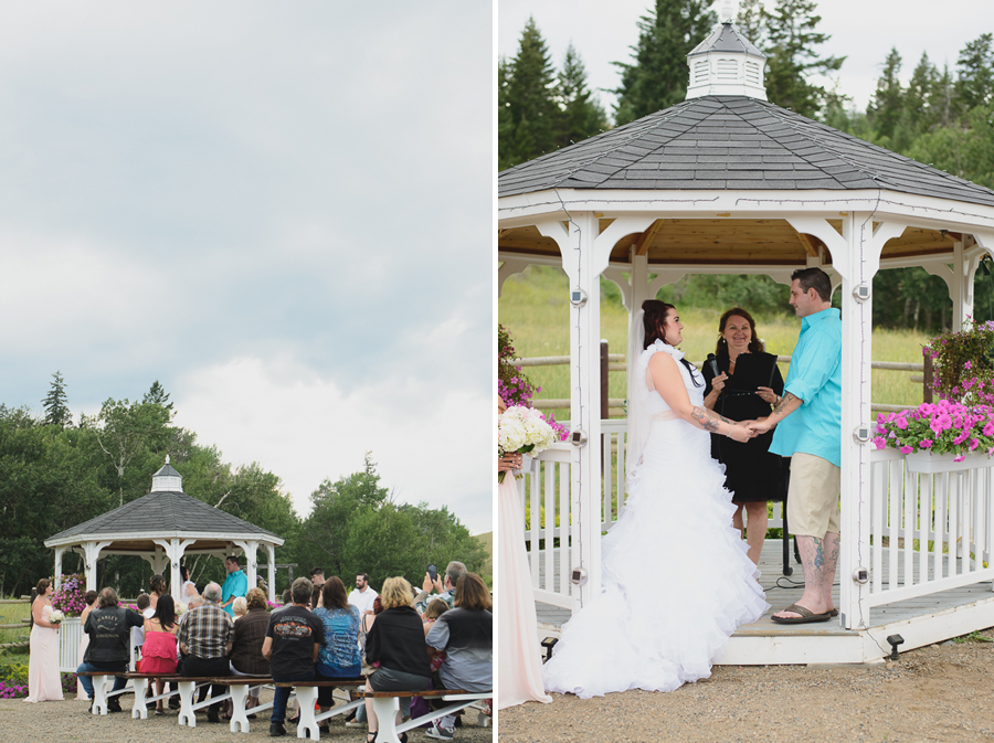 rustic gazebo wedding   bride in ruffled dress with pink beaded sash and casual groom in turquoise collared shirt and khaki shorts