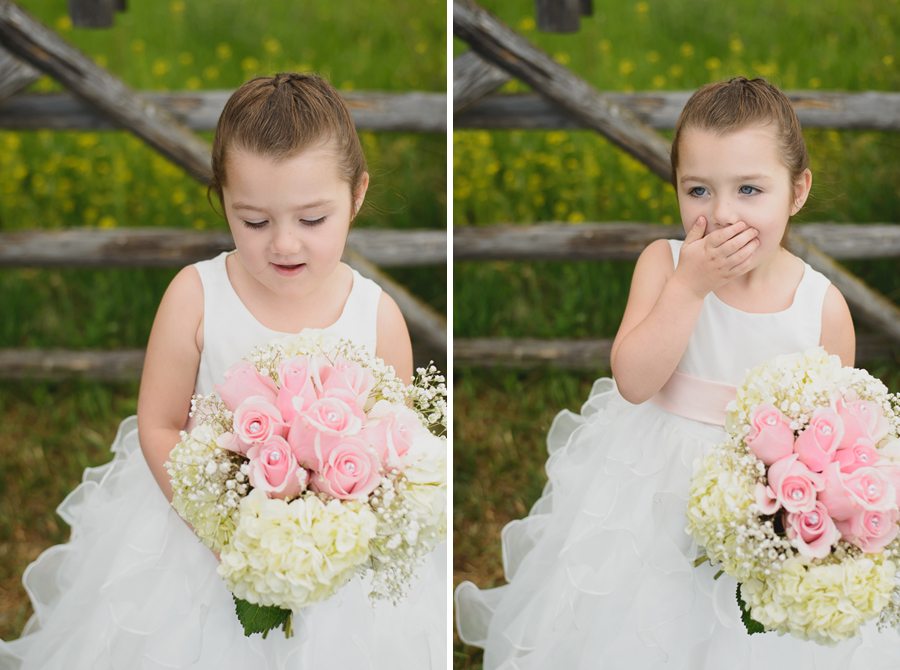 flower girl with matching ruffled dress holding Mom's bridal bouquet