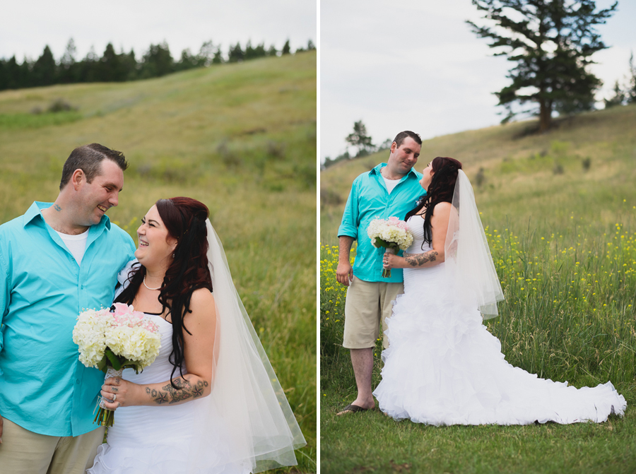 bride and groom with tattoos | bride in ruffled one shoulder wedding dress with pink beaded sash with groom in casual turquoise button up and khaki shorts