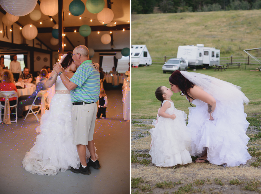 bride in ruffled one shoulder wedding dress dancing with father in casual polo shirt and khaki shorts during father daughter dance | bride and daughter flower girl in matching dresses kissing