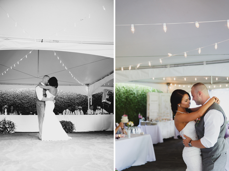 sweet first dance with twinkle lights under tent at shabby chic family farm wedding reception