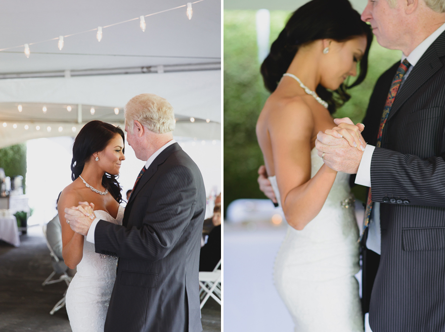 close up of father of the bride's wedding ring during father daughter dance