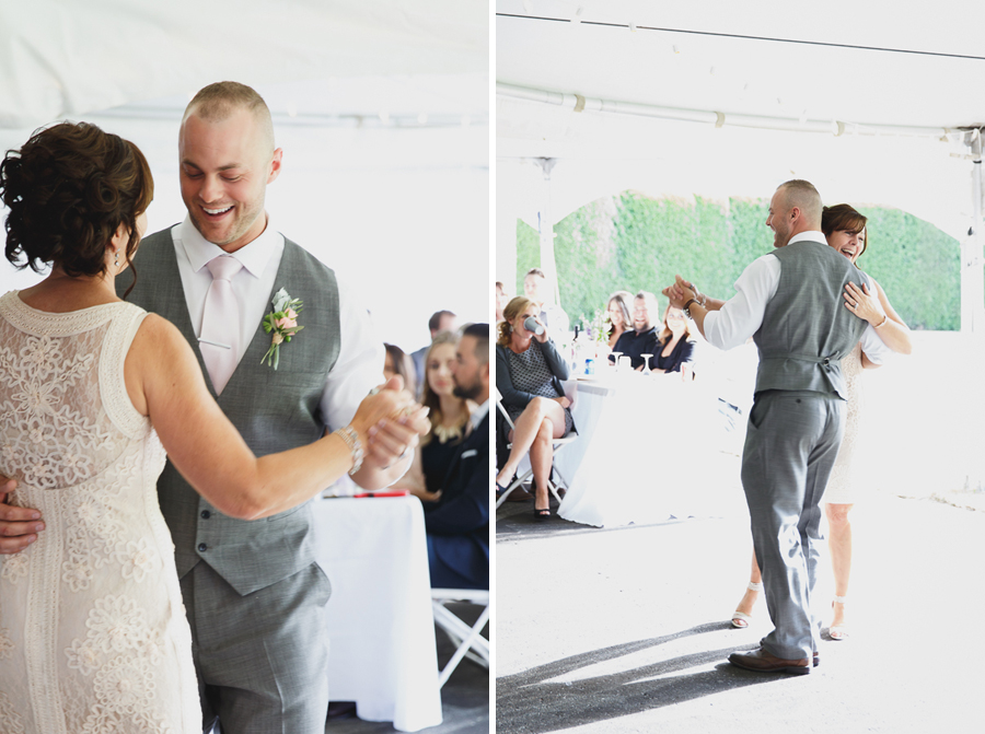 fun mother son dance with twinkle lights under tent at shabby chic family farm wedding reception