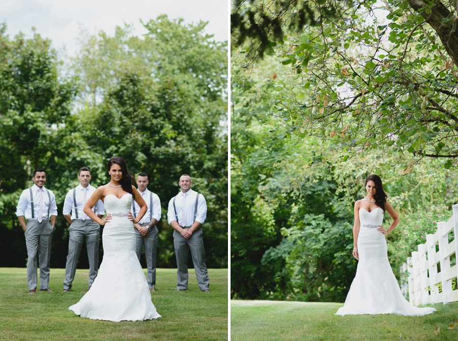 bride in sweetheart neckline lace fit and flare dress with beaded belt with groomsmen