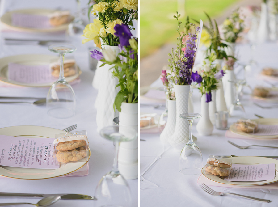 homemade cookie wedding favours on gold plates with rustic wild flower centerpieces in mismatched white vases