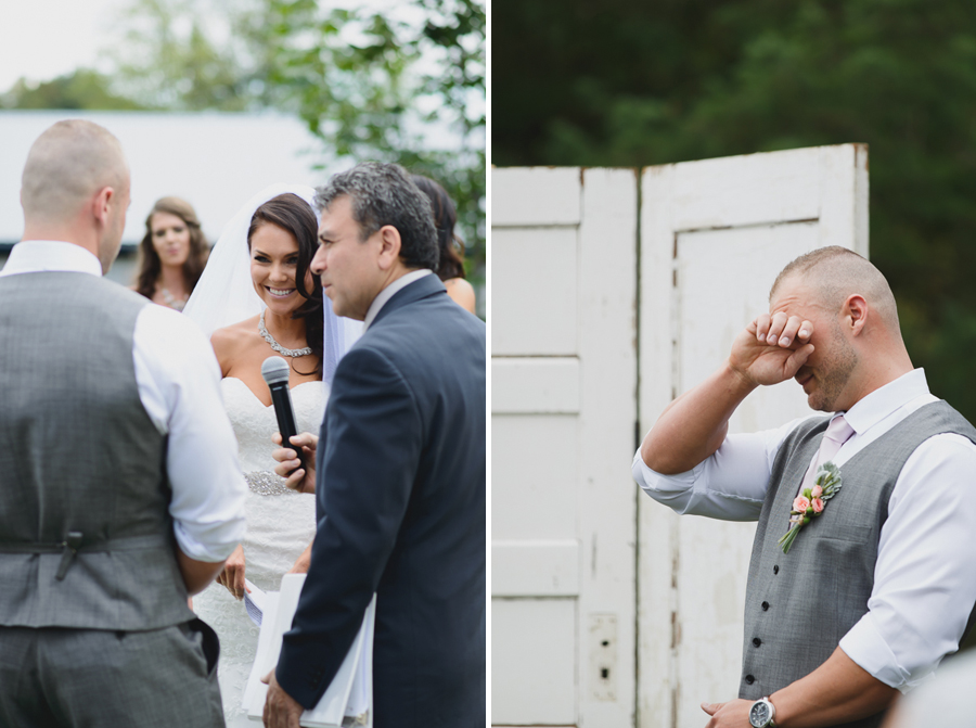 bride laughing while saying vows during wedding ceremony | groom crying while listening to bride's vows during wedding ceremony