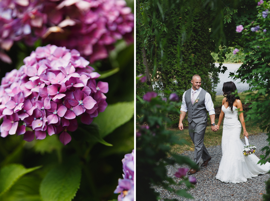 bride in lace fit and flare dress with beaded belt and rustic bouquet and groom in grey vest with light pink tie