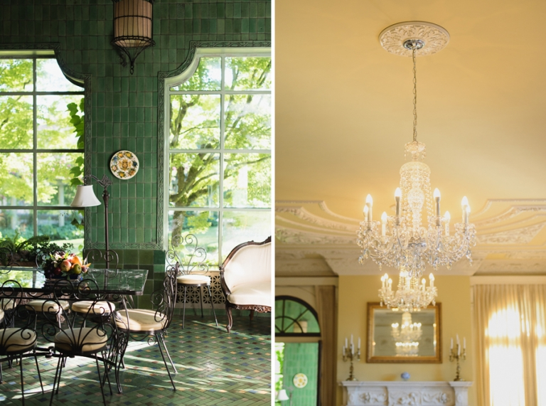 green solarium | beautiful chandelier at Hycroft Manor wedding in Vancouver, BC