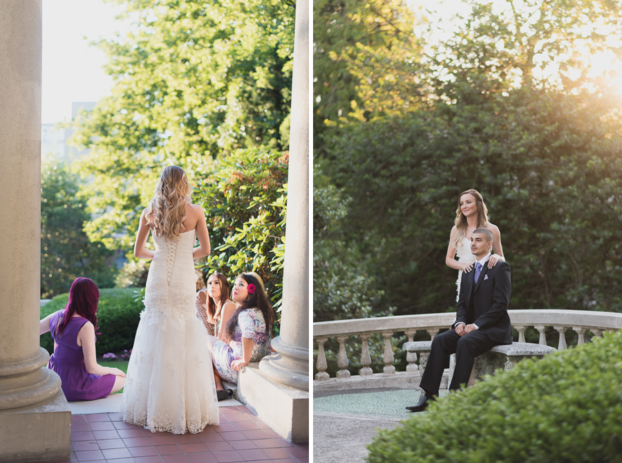 bride in beautiful lace corset wedding dress | bride and groom portrait in garden at Hycroft Manor wedding in Vancouver, BC
