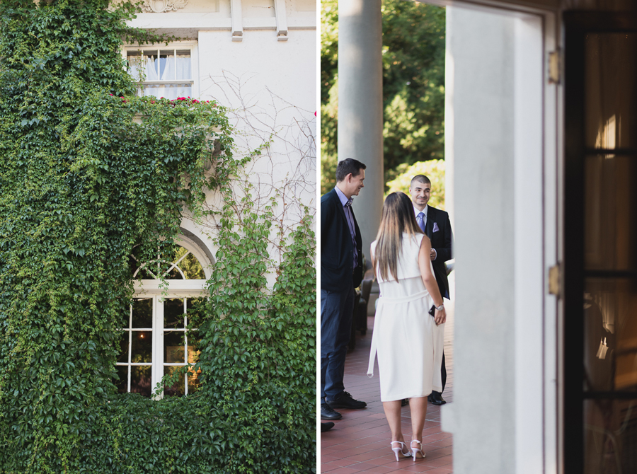 beautiful vines at Hycroft Manor wedding in Vancouver, BC | groom waiting for bride before wedding ceremony
