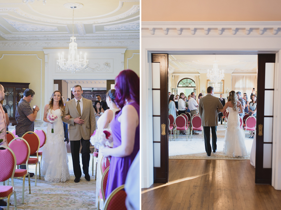 bride coming down the aisle in the drawing room at Hycroft Manor wedding in Vancouver, BC